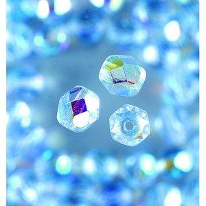 Billigtpyssel.se   Glaspärlor facetterade - ljusblå -. runda