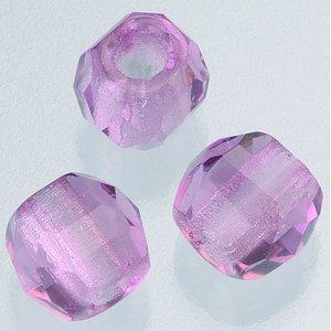 Billigtpyssel.se | Glaspärlor facetterade stort hål 10 mm - malvafärgad 6 st. pärla 2