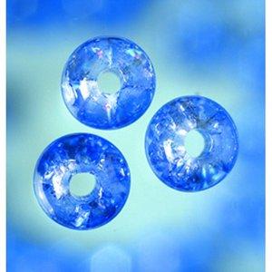 Billigtpyssel.se   Glaspärlor krackelerade - blå - rund