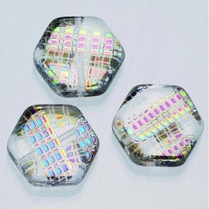 Billigtpyssel.se   Glaspärlor målade 17 mm - tydligt nät 5 st. sexhörniga platta