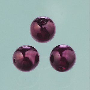 Billigtpyssel.se | Glaspärlor vax lyster 6 mm - mörkröd 40 st.