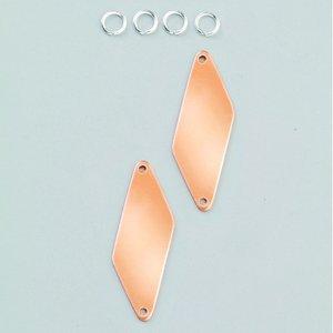 Billigtpyssel.se | Hängsmycke 47 x 16 mm - 2-pack rhomber 2-hål