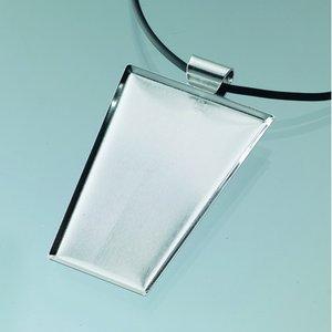 Billigtpyssel.se | Hängsmycke för mosaik 40 x 25 x 55 mm - försilvrad trapetsoid