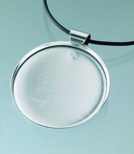Billigtpyssel.se | Hängsmycke för mosaik 49 mm - försilvrad rund