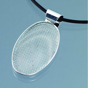 Billigtpyssel.se   Hängsmycke med sil 25 x 40 mm - silverpläterad oval