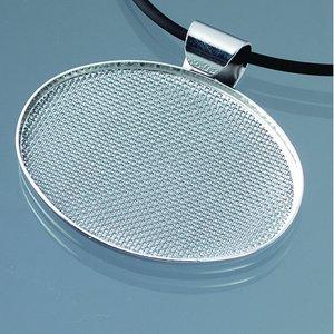 Billigtpyssel.se | Hängsmycke med sil 48 x 37 mm - silverpläterad oval