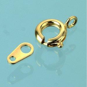 Billigtpyssel.se | Halsbandslås fjädermodell 7 mm - förgylld 50 st.