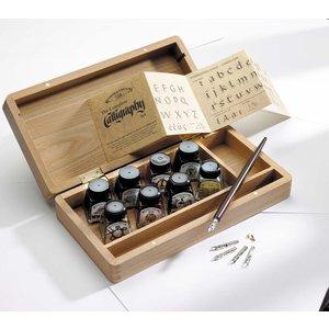 Billigtpyssel.se   Kalligrafiset W&N - Set med trälåda