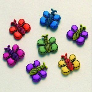 Billigtpyssel.se | Knapp - färger 7 st. Fjärilsdrömmar