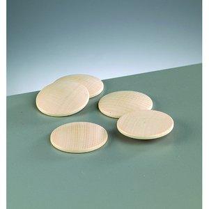 Billigtpyssel.se | Knappform i trä 40 mm - 50-pack - blekt runda