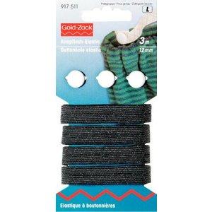 Billigtpyssel.se | Knapphålsresår med 3 knappar 12 mm svart 3 m
