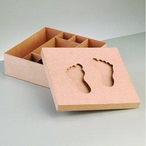 Billigtpyssel.se | Låda babyfötter 25 x 25 x 6 cm - uppdelad