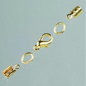 Billigtpyssel.se   Låsanordningar för läderband ø 2 mm - guldpläterade (klämfäste)