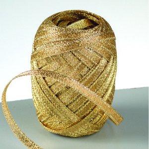 Billigtpyssel.se   Lurex rosettband 5 mm - 25-pack - guld 10 m nystan