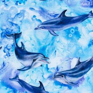 Billigtpyssel.se | Mönstrad Trikå 150 cm - Delfin