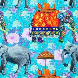 Billigtpyssel.se | Mönstrad Trikå 150 cm - Elefant Multi