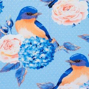 Billigtpyssel.se | Mönstrad Trikå 150 cm - Fågel Ljusblå