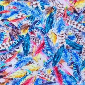 Billigtpyssel.se | Mönstrad Trikå 150 cm - Fjädrar Multi