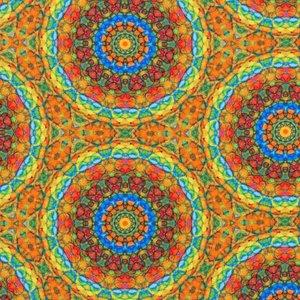 Billigtpyssel.se | Mönstrad Trikå 150 cm - Mandala Ockra Multi