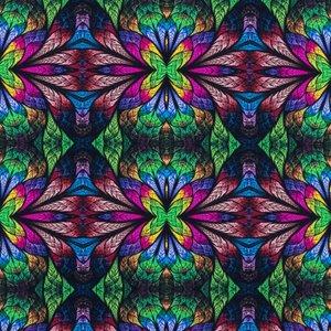 Billigtpyssel.se   Mönstrad Trikå 150 cm - Mosaik Blommor Grön