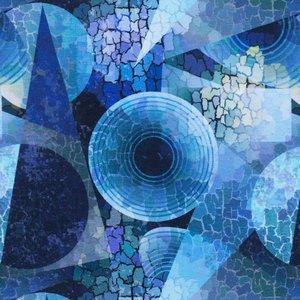 Billigtpyssel.se | Mönstrad Trikå 150 cm - Mosaik Geometri Blå