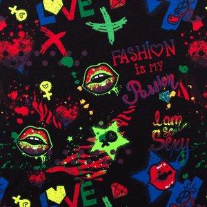 Billigtpyssel.se   Mönstrad Trikå 150 cm - Neonfärg Graffiti
