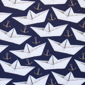 Billigtpyssel.se | Mönstrad Trikå 150 cm - Pappersbåt Mörkblå