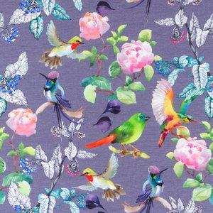 Billigtpyssel.se   Mönstrad Trikå 150 cm - Peony Birds Mörkgrå