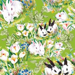 Billigtpyssel.se   Mönstrad Trikå 150 cm - Rabbits
