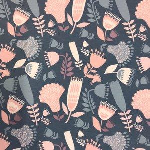 Billigtpyssel.se   Mönstrad Trikå 150 cm - Retro Blommor