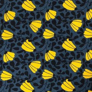 Billigtpyssel.se   Mönstrad Trikå 150 cm - Retro Gula blommor