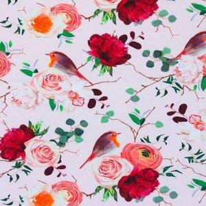 Billigtpyssel.se | Mönstrad Trikå 150 cm - Rosor Rosa