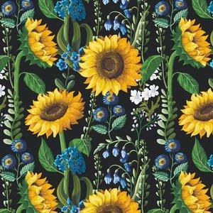 Billigtpyssel.se   Mönstrad Trikå 150 cm - Solrosor Blå Blommor