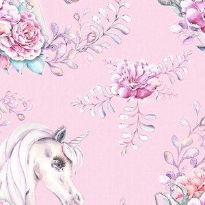 Billigtpyssel.se | Mönstrad Trikå 150 cm - Unicorn Flower Pink