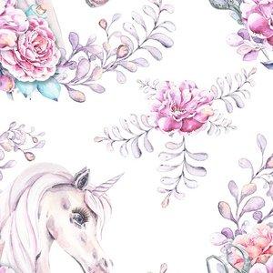 Billigtpyssel.se   Mönstrad Trikå 150 cm - Unicorn Flower
