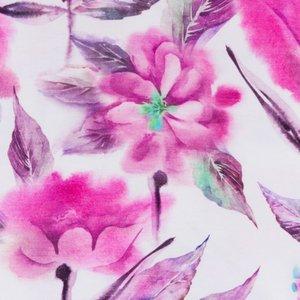 Billigtpyssel.se | Mönstrad Trikå 150 cm - Vattenfärg Blomma Fuchsia
