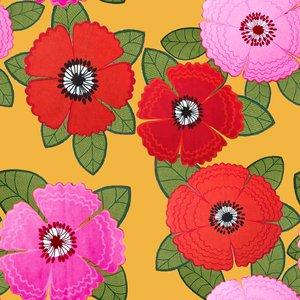 Billigtpyssel.se | Mönstrad Trikå 150 cm - Zinnia Röd Rosa Blommor Senap