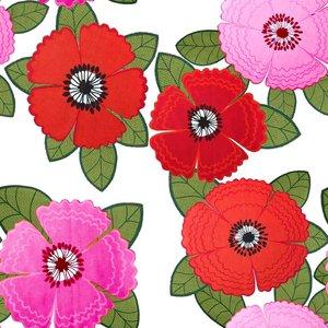 Billigtpyssel.se | Mönstrad Trikå 150 cm - Zinnia Röd Rosa Blommor Vit