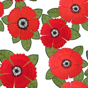 Billigtpyssel.se | Mönstrad Trikå 150 cm - Zinnia Röda Blommor Vit