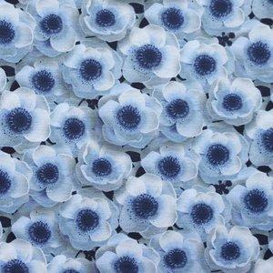 Billigtpyssel.se | Mönstrad Trikå 160 cm - Blommor Jeans