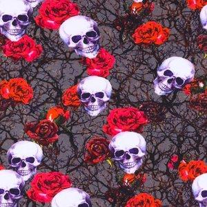 Billigtpyssel.se   Mönstrad Trikå 160 cm - Dödskalle Blommor Mörk