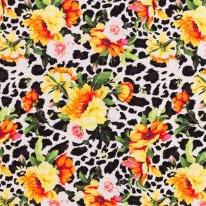 Billigtpyssel.se | Mönstrad Trikå 160 cm - Farliga Blommor Vit