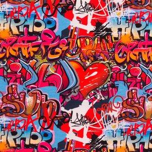Billigtpyssel.se | Mönstrad Trikå 160 cm - Graffiti Hip-Hop