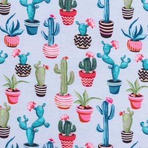 Billigtpyssel.se | Mönstrad Trikå 160 cm - Kaktus Ljusblå