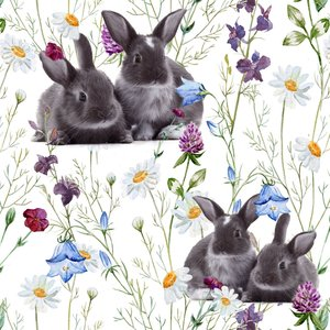 Billigtpyssel.se | Mönstrad Trikå 160 cm - Kaniner Äng