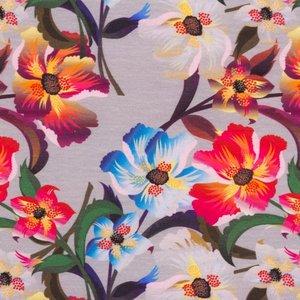Billigtpyssel.se | Mönstrad Trikå 160 cm - Stiliga Blommor Ljusgrå
