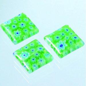 Billigtpyssel.se | Millefioripärlor 14x14xT4mm - grön 3 st. kvadratiska platt