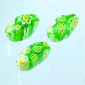 Billigtpyssel.se | Millefioripärlor 8x8x16mm - ljusgrön 3 st. oliv skruvade