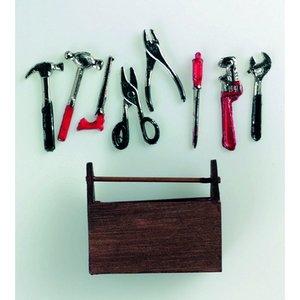 Billigtpyssel.se | Miniatyr 5 x 4 cm - 9 delar Verktygslåda med verktyg
