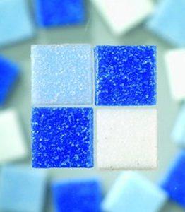 Billigtpyssel.se | MosaixPro - glasmosaik 10 x 10 mm - blå mix 1.000 g ~ 1